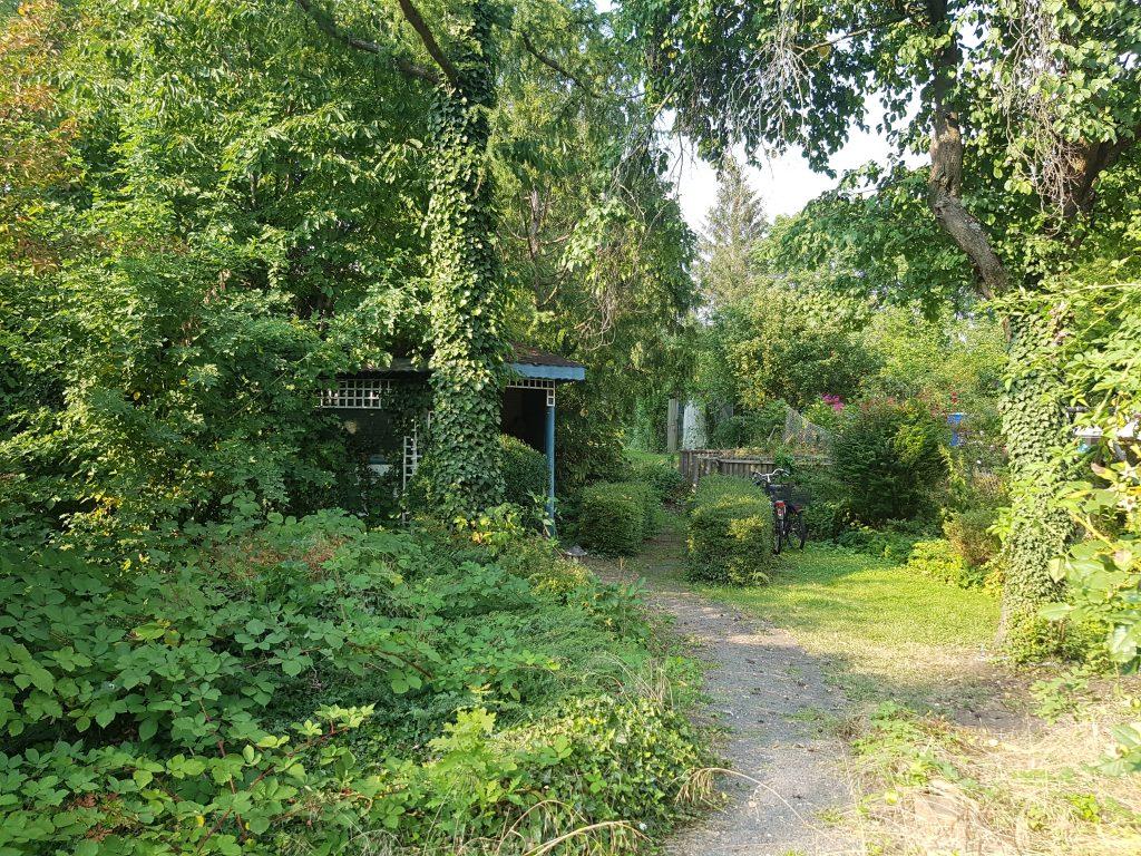 Hinterer Teil des Gartens mit Pavillon und Kompost
