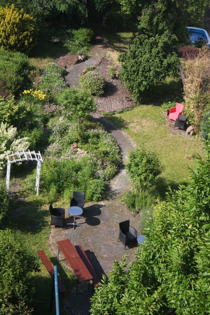 Garten der Villa Zandoli aus der Vogelperspektive